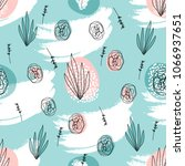 abstract hand drawn floral... | Shutterstock .eps vector #1066937651