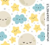 moon  cloud and stars cute... | Shutterstock .eps vector #1066948715