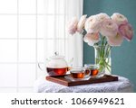 room of the blue wall and window   Shutterstock . vector #1066949621