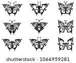 tribal butterfly set in black...   Shutterstock .eps vector #1066959281