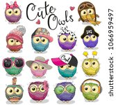 set of cute cartoon owls on a... | Shutterstock .eps vector #1066959497