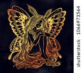 moth girl butterfly with long... | Shutterstock .eps vector #1066973564