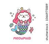 cute cat in a mermaid costume.... | Shutterstock .eps vector #1066975889