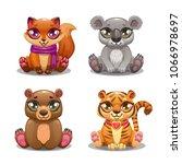little cute cartoon pet icons...   Shutterstock .eps vector #1066978697