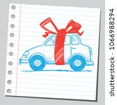 gift car with red bow | Shutterstock .eps vector #1066988294