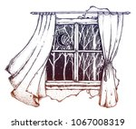 vintage window curtains blown... | Shutterstock .eps vector #1067008319