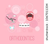 dental banner with flat icons... | Shutterstock .eps vector #1067011334
