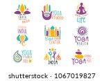 yoga center set of colorful... | Shutterstock .eps vector #1067019827