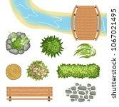 flat vector set of landscape... | Shutterstock .eps vector #1067021495