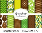 cute set of spring forest... | Shutterstock .eps vector #1067025677