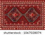 persian carpet  tribal vector... | Shutterstock .eps vector #1067028074