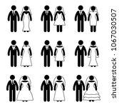 stick figure just married groom ... | Shutterstock . vector #1067030507