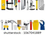 diy handyman hand tools collage ... | Shutterstock . vector #1067041889
