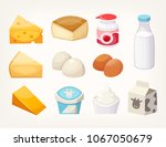 set of most common dairy food... | Shutterstock .eps vector #1067050679