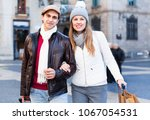 happy  positive man and woman...   Shutterstock . vector #1067054531