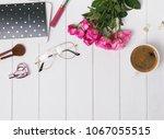 feminine accessories and pink... | Shutterstock . vector #1067055515