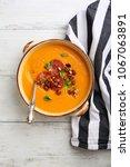 tasty pumpkin soup with beans... | Shutterstock . vector #1067063891