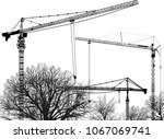 illustration with tower cranes... | Shutterstock .eps vector #1067069741