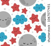 moon  cloud and stars cute... | Shutterstock .eps vector #1067077451
