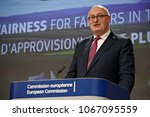 Small photo of Brussels, Belgium.12th April 2018.European Commissioner for Agriculture Phil Hogan gives a press conference on the Commission's proposals against unfair trade practices in the food supply chain