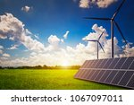 new energy  solar and wind... | Shutterstock . vector #1067097011