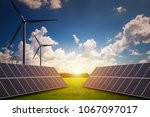 new energy  solar and wind... | Shutterstock . vector #1067097017