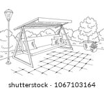 garden swing graphic black...   Shutterstock .eps vector #1067103164