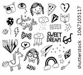 various cute doodles isolated... | Shutterstock .eps vector #1067105117