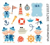 set with nautical elements and... | Shutterstock .eps vector #1067110157