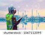 double exposure of engineer...   Shutterstock . vector #1067112095