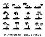 set tropical palm trees with... | Shutterstock .eps vector #1067144591