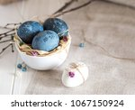 blue  and white easter eggs.... | Shutterstock . vector #1067150924