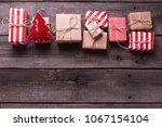 border from gift boxes with...   Shutterstock . vector #1067154104