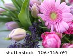 Bouquet Of Pink Tulips And...