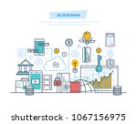 blockchain  cryptocurrency ... | Shutterstock .eps vector #1067156975