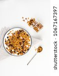 homemade granola on plate  with ... | Shutterstock . vector #1067167397