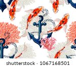 Stock vector beautiful seamless vector tropical pattern with koi fish anchor corals abstract geometric 1067168501
