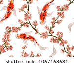 seamless vector floral pattern... | Shutterstock .eps vector #1067168681