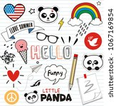 doodles cute panda and elements | Shutterstock .eps vector #1067169854