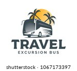 tourist bus vector logo on... | Shutterstock .eps vector #1067173397