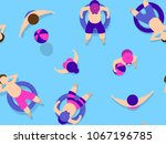 people swimming in pool... | Shutterstock .eps vector #1067196785