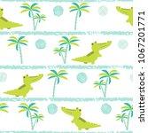 seamless cartoon crocodiles...   Shutterstock .eps vector #1067201771
