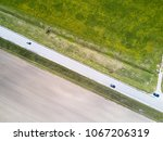 aerial drone view on the road... | Shutterstock . vector #1067206319