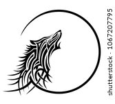 wolf tattoo tribal vector... | Shutterstock .eps vector #1067207795