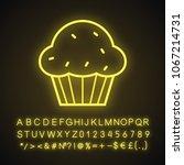 cupcake neon light icon. muffin.... | Shutterstock .eps vector #1067214731
