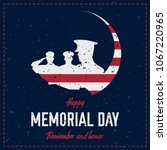 happy memorial day. vintage... | Shutterstock .eps vector #1067220965