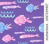 watercolor cartoon seamless... | Shutterstock . vector #1067229407