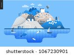magical summer landscape  ... | Shutterstock .eps vector #1067230901