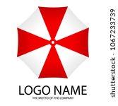 beach umbrella top view. logo... | Shutterstock .eps vector #1067233739