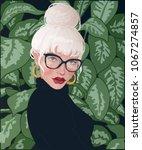 vector blonde girl with bunch... | Shutterstock .eps vector #1067274857